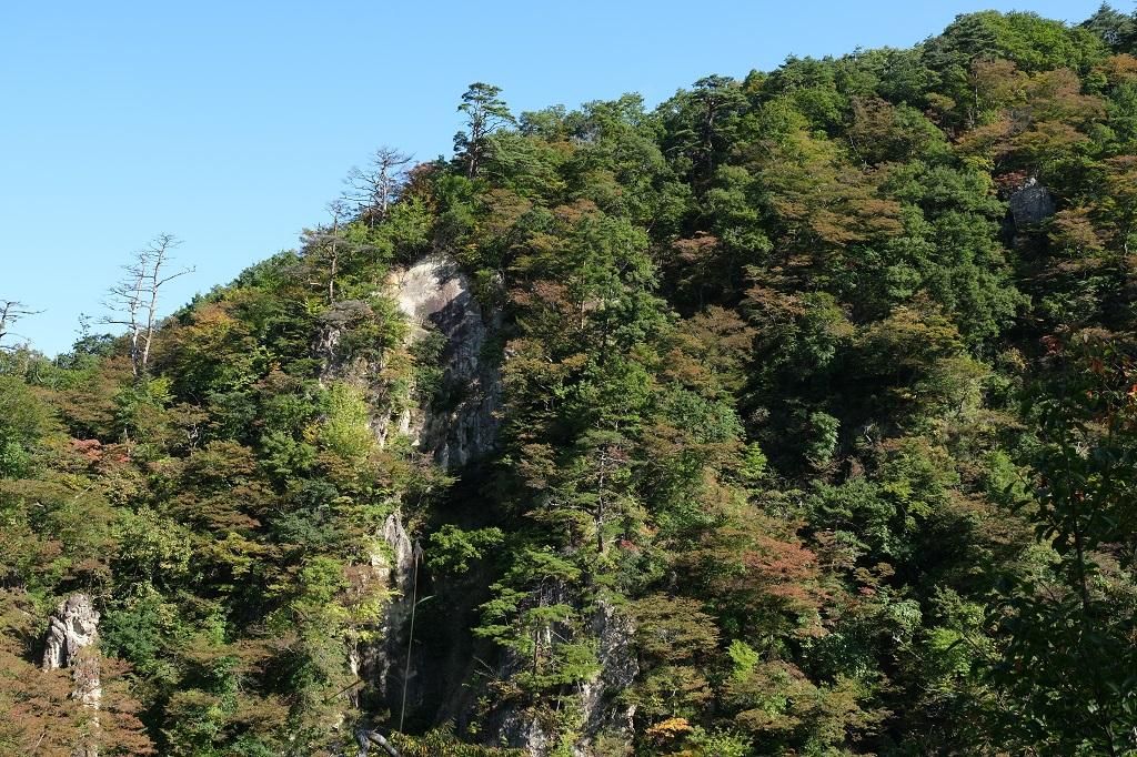 鳴子レストハウスからの鳴子峡の写真