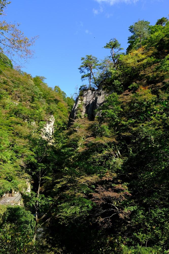 鳴子峡の紅葉前の風景写真