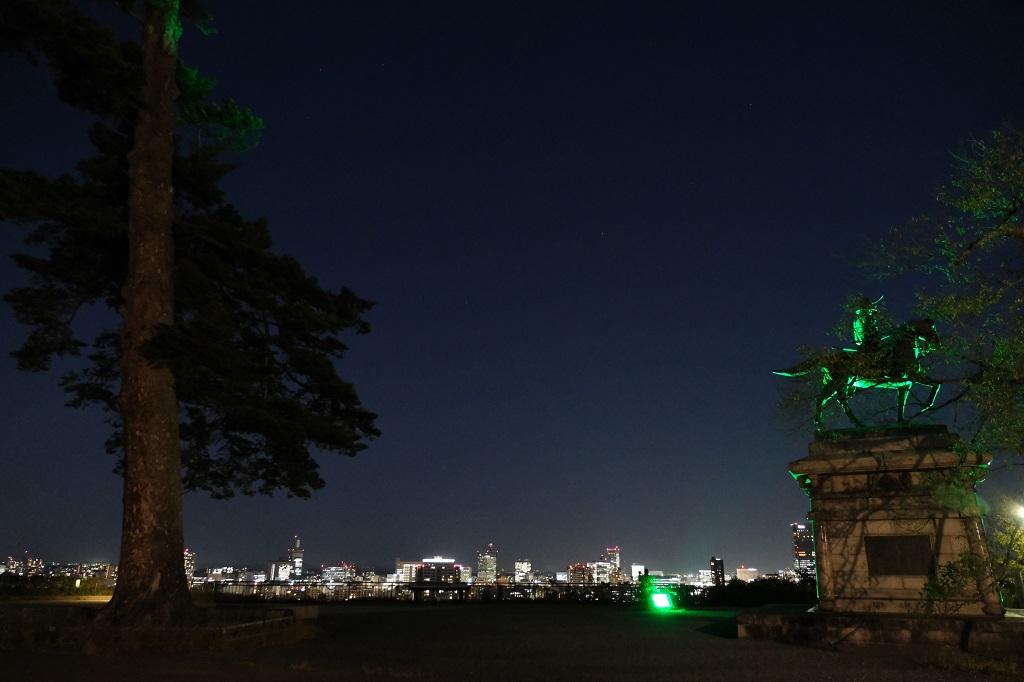 仙台城跡公園の夜の風景写真