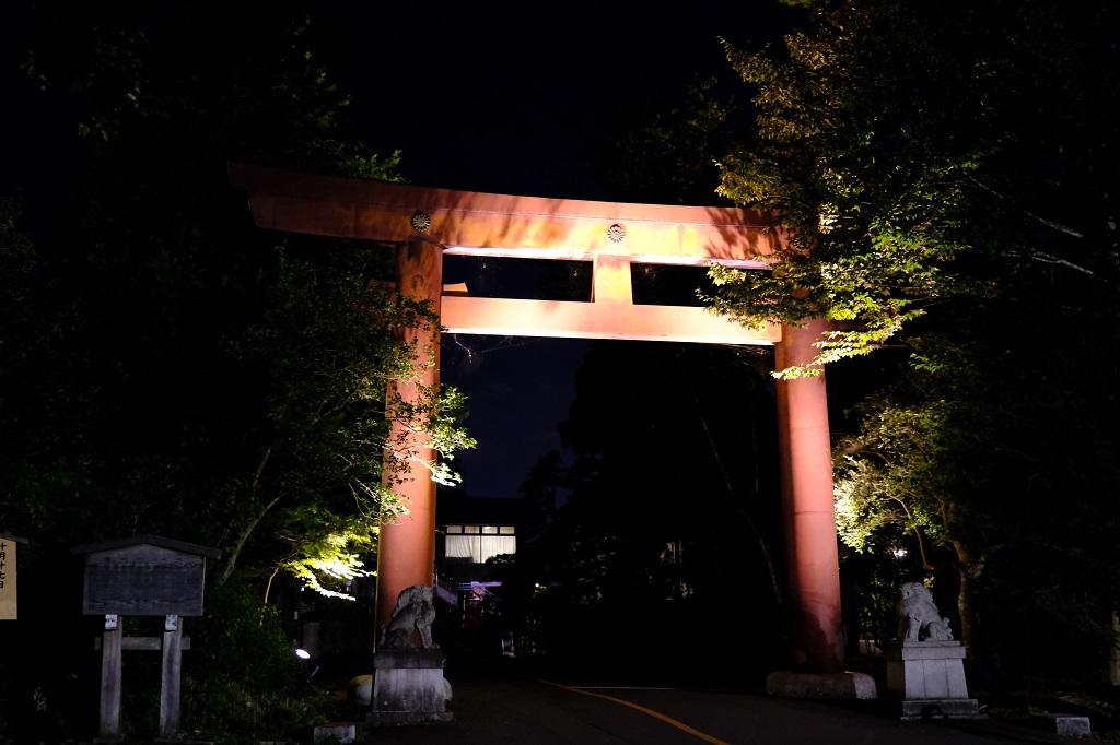 仙台城公園入口の門の夜景の風景写真