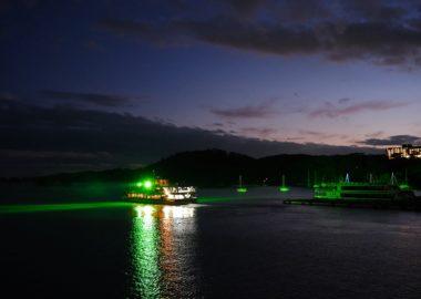松島五大堂のグリーンのライトアップの写真画像