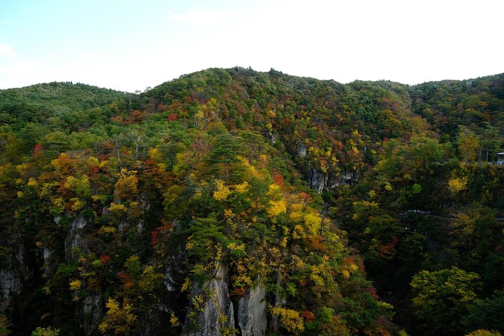X-T3で撮影した鳴子峡の大橋から見た紅葉写真