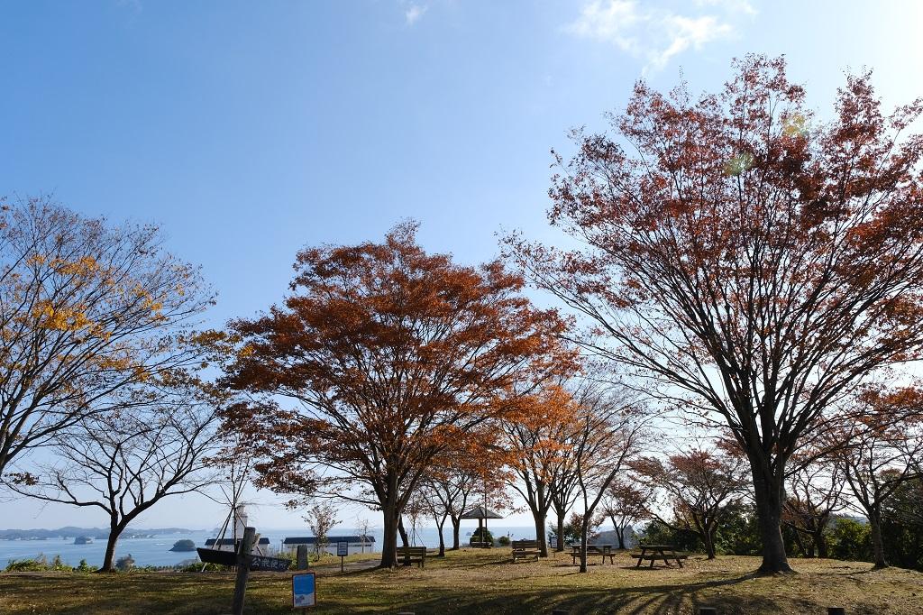 松島四大観の偉観の秋の紅葉の風景写真