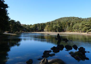 秋の紅葉終わった毛越寺の景観写真