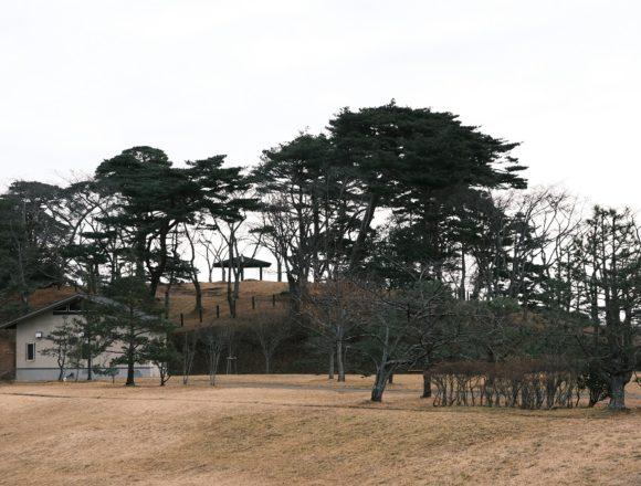 西行戻しの松公園の駐車場から公園を望んだ写真