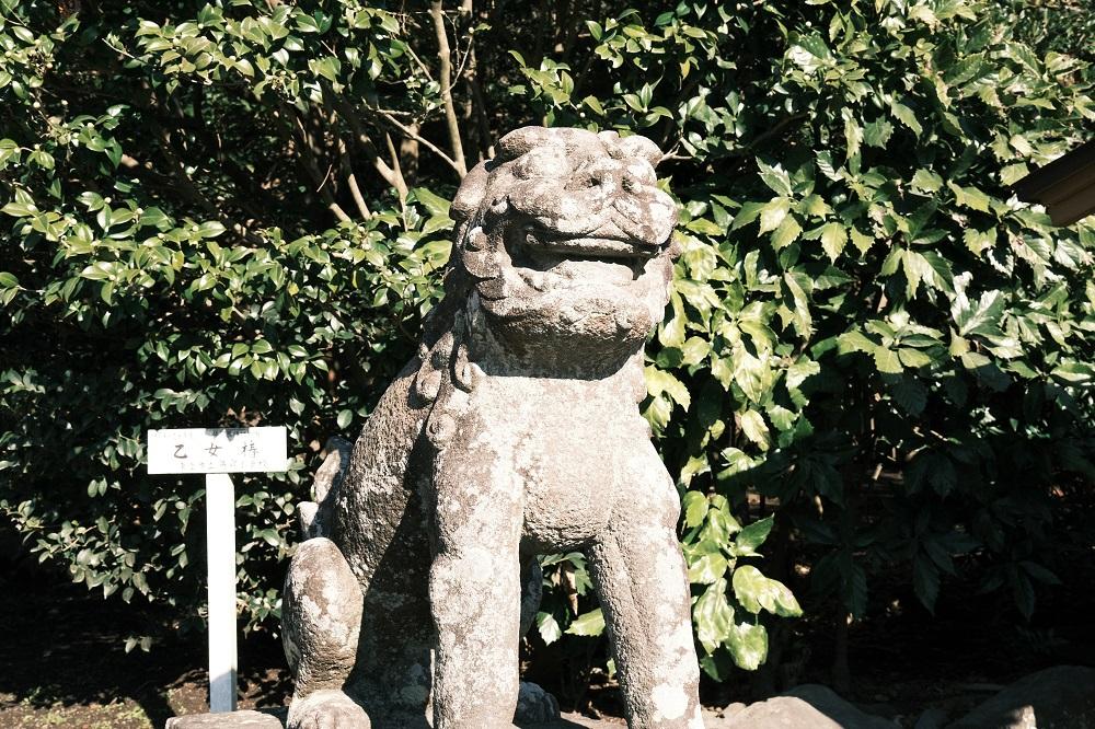 鶴岡八幡宮階段の前の狛犬