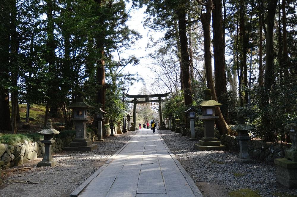 塩竃神社の2月の参道の風景写真