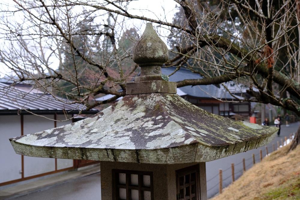 中尊寺山門脇の石灯篭の写真