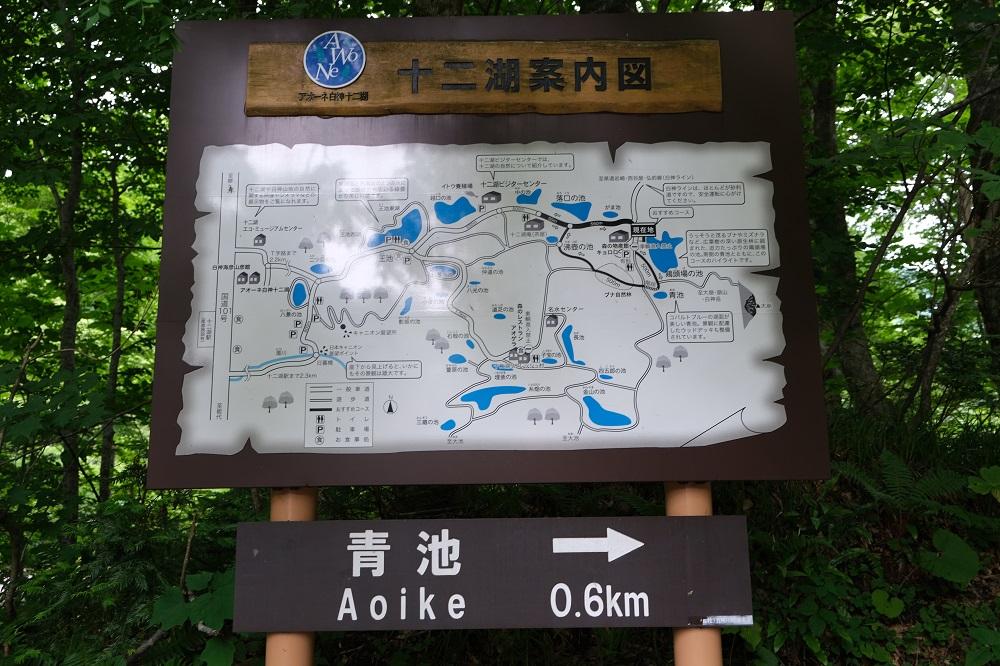 青池への案内表示板