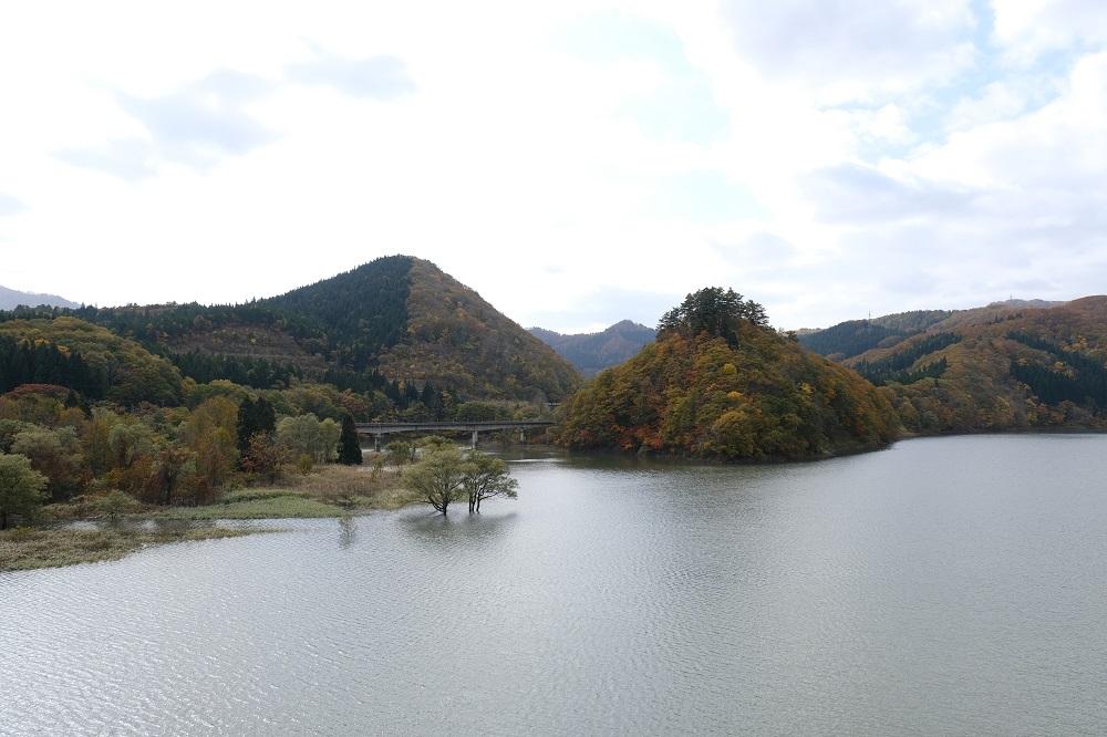 2019年の湯田ダムの水量の写真